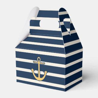 Nautical Anchor Navy Stripes Favor Box