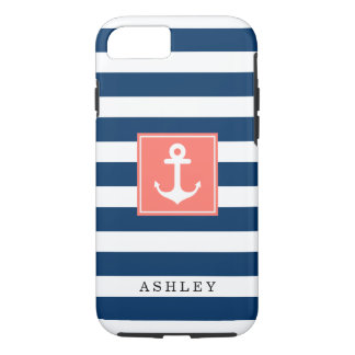 Nautical Anchor Navy Stripes Pattern Monogram Name iPhone 8/7 Case