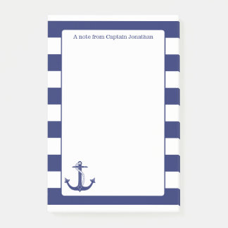 Nautical Anchor Navy Stripes Personalized 4 x 6 Post-it Notes