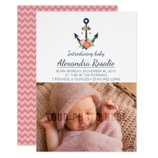 Nautical Anchor New Baby Girl Photo Announcement