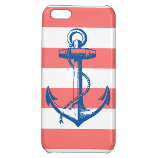 Nautical Anchor on Coral Stripes iPhone 5C Covers