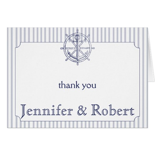 Nautical Anchor on Grey Stripe Thank You Card