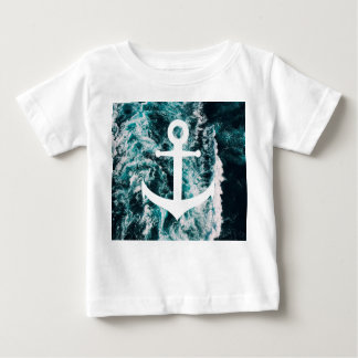 Nautical anchor on ocean photo background baby T-Shirt