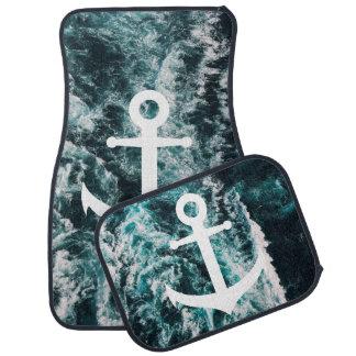 Nautical anchor on ocean photo background car mat
