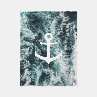 Nautical anchor on ocean photo background fleece blanket