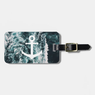 Nautical anchor on ocean photo background luggage tag