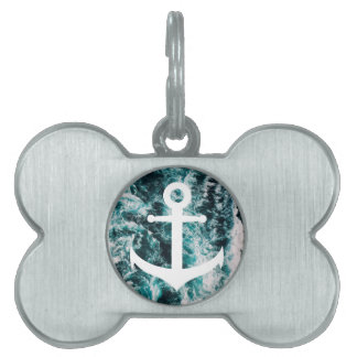 Nautical anchor on ocean photo background pet name tag
