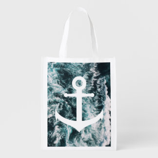 Nautical anchor on ocean photo background reusable grocery bag
