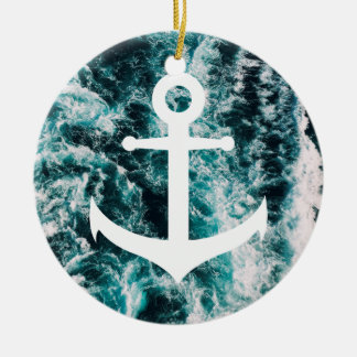 Nautical anchor on ocean photo background round ceramic ornament