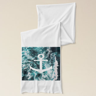 Nautical anchor on ocean photo background scarf