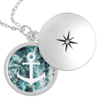 Nautical anchor on ocean photo background silver plated necklace