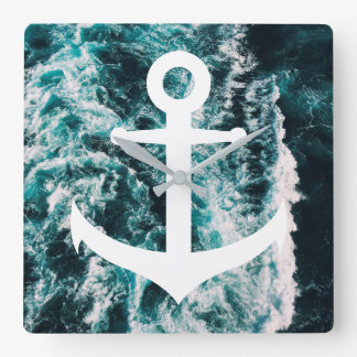 Nautical anchor on ocean photo background square wall clock