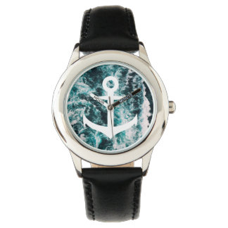 Nautical anchor on ocean photo background watch