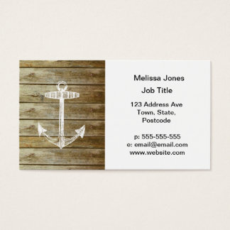 Nautical Anchor on wood graphic Business Card