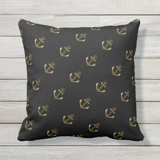 Nautical Anchor Pattern Black and Gold Throw Pillow