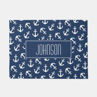Nautical Anchor Pattern Navy Blue Custom Doormat