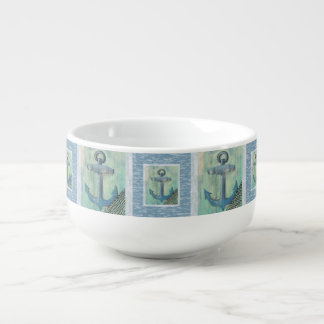 Nautical Anchor Pattern Soup Mug