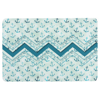 Nautical - Anchor Pattern with Chevron Abstract Floor Mat