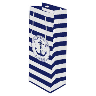 Nautical Anchor Personalized Birthday Wine Gift Bag
