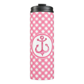 Nautical Anchor Pink Gingham Thermal Tumbler