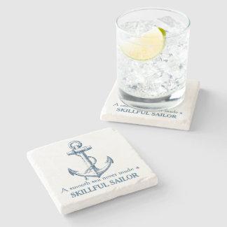 Nautical anchor quote A smooth sea never coaster Stone Beverage Coaster
