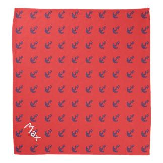 Nautical Anchor Red Blue Striped Pet Name Template Bandanas