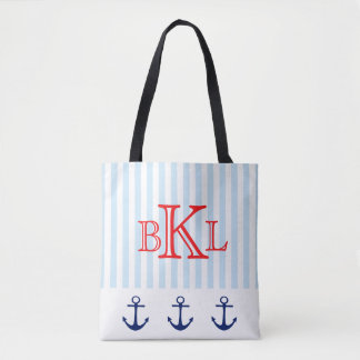 Nautical Anchor Red White Blue Summer Beach Tote