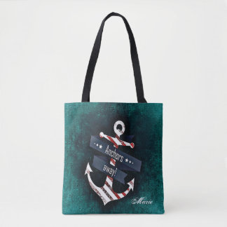Nautical Anchor Red White Stripe Blue Tote Bag