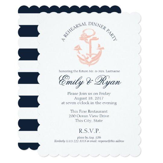 Nautical Anchor Rehearsal Dinner Card