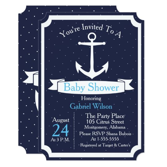 Nautical Anchor & Ribbon Baby Boy Baby Shower Card