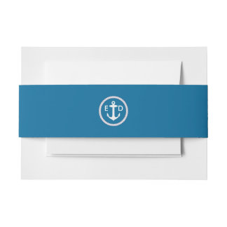 Nautical Anchor Ring Navy Blue Invitation Belly Band