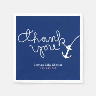 Nautical Anchor & Rope Navy Baby Shower Thank You Disposable Napkins