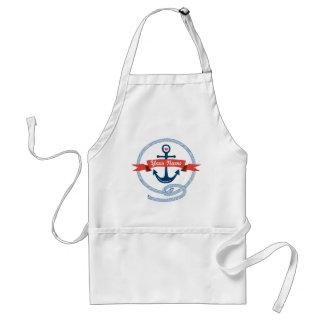 Nautical Anchor Rope Ribbon Stripes Red White Blue Apron