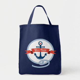 Nautical Anchor Rope Ribbon Stripes Red White Blue Canvas Bags