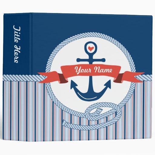 Nautical Anchor Rope Ribbon Stripes Red White Blue Vinyl Binder
