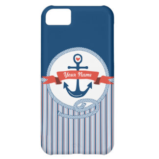 Nautical Anchor Rope Ribbon Stripes Red White Blue Case For iPhone 5C