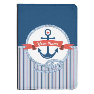 Nautical Anchor Rope Ribbon Stripes Red White Blue Kindle 4 Cover