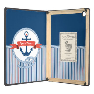 Nautical Anchor Rope Ribbon Stripes Red White Blue Case For iPad Air