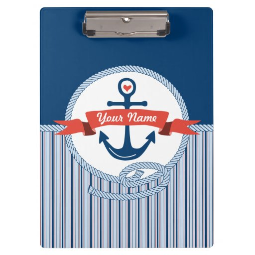 Nautical Anchor Rope Ribbon Stripes Red White Blue Clipboard