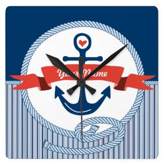 Nautical Anchor Rope Ribbon Stripes Red White Blue Square Wall Clocks