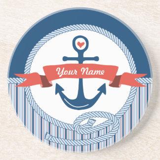 Nautical Anchor Rope Ribbon Stripes Red White Blue Coaster