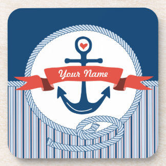 Nautical Anchor Rope Ribbon Stripes Red White Blue Beverage Coasters