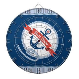 Nautical Anchor Rope Ribbon Stripes Red White Blue Dart Board