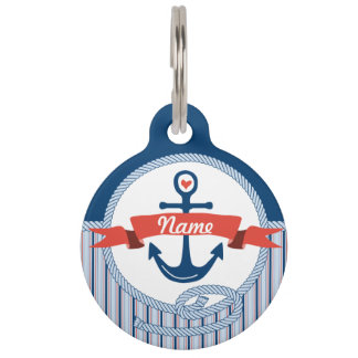 Nautical Anchor Rope Ribbon Stripes Red White Blue Pet ID Tag