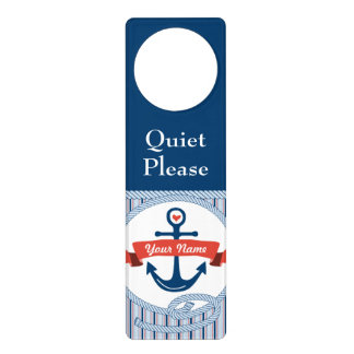Nautical Anchor Rope Ribbon Stripes Red White Blue Door Knob Hangers