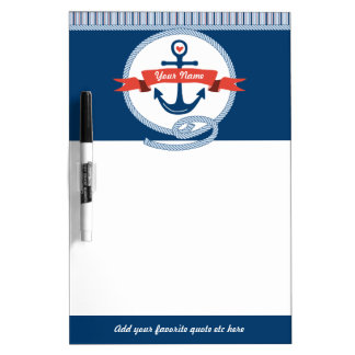 Nautical Anchor Rope Ribbon Stripes Red White Blue Dry Erase Whiteboards