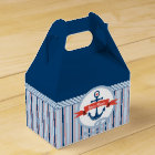 Nautical Anchor Rope Ribbon Stripes Red White Blue Favor Box