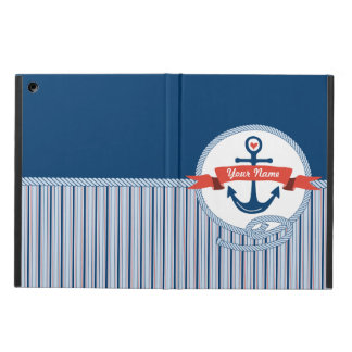 Nautical Anchor Rope Ribbon Stripes Red White Blue iPad Air Covers