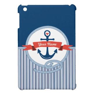 Nautical Anchor Rope Ribbon Stripes Red White Blue iPad Mini Covers
