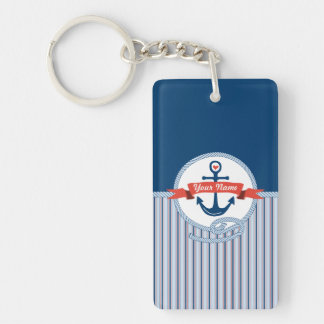 Nautical Anchor Rope Ribbon Stripes Red White Blue Double-Sided Rectangular Acrylic Keychain